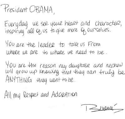 Carta de Beyoncé a Barack Obama
