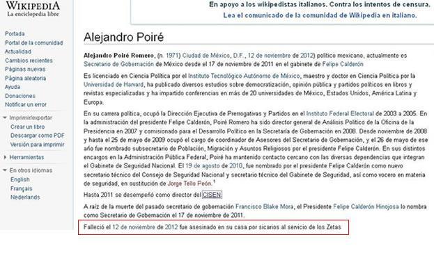 Insólito: Wikipedia predice el asesinato de Alejandro Piré