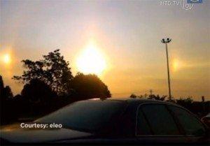 Terror en China por la aparición de tres soles en el cielo - Fotos y video