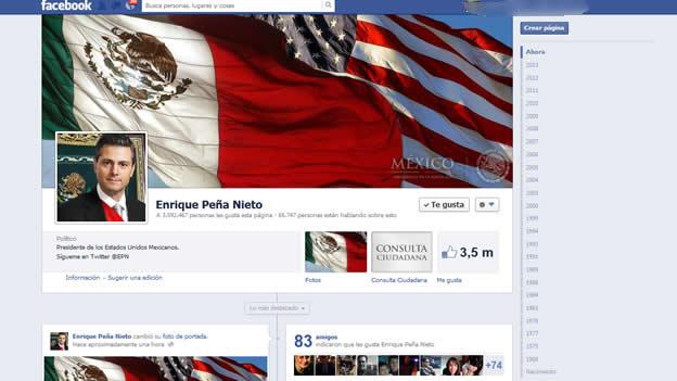 Enrique Peña Nieto con la bandera de Estados Unidos en Facebook