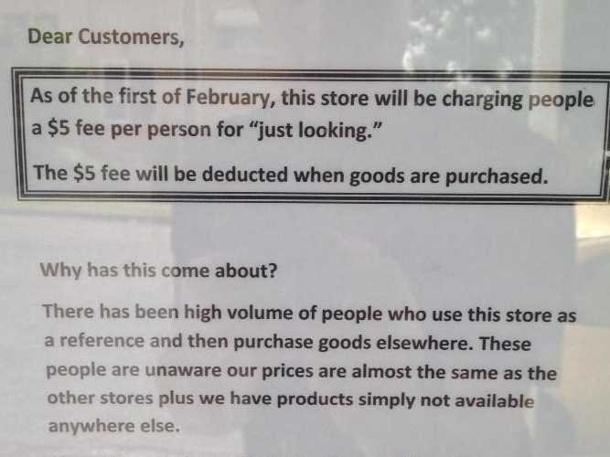 Insólito: Tienda cobra cinco dólares 'sólo por mirar'