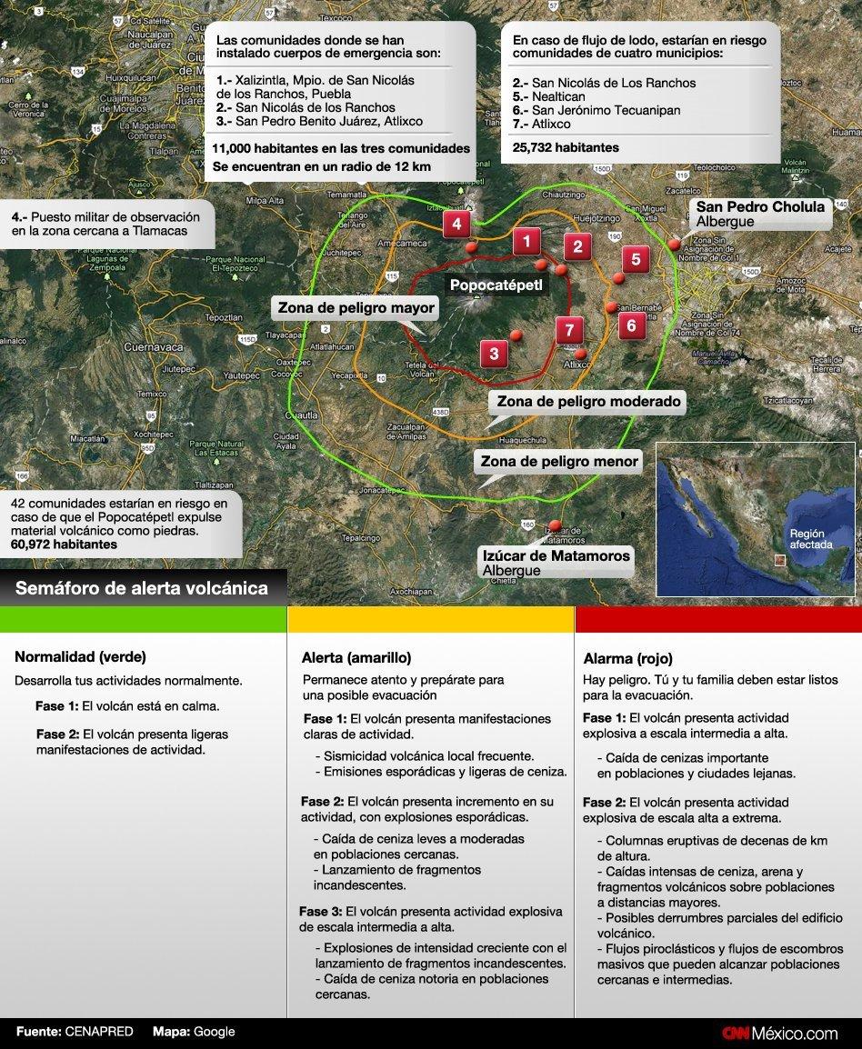 Éstas son las zonas de riesgo por la actividad del volcán Popocatépetl